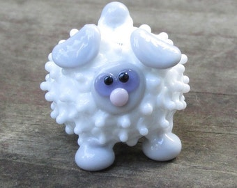 White and Grey Sheep Lamb Ewe Lampwork Handmade SRA OOAK Glass Bead NLC Beads leteam