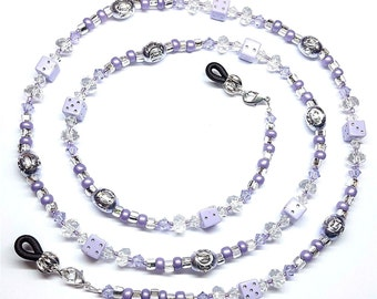Purple Dice Violet Swarovski Crystal Eyeglass Chain Holder