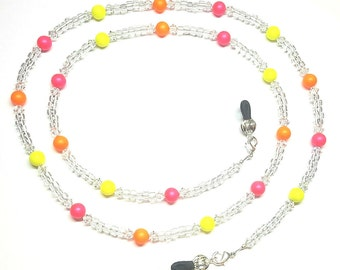 Swarovski Neon Pink Yellow Orange Pearls Eyeglass Chain Holder