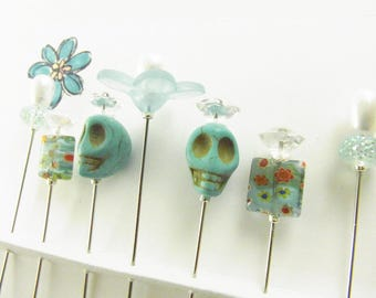 Fancy Sewing Pins Turquoise Skulls with Lg. Daisy and Millefiori