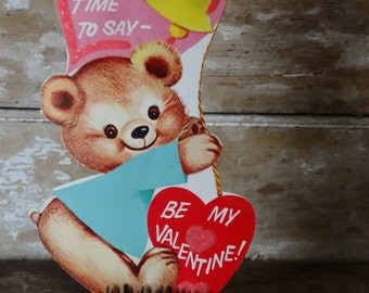 Vintage Valentine Bear Pink Heart Sweet 1950's or Earlier Retro
