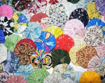 "Miniature Fabric YoYos, 75 Colorful Prints And Solids, 1-1/2"" Size, Crafting, Appliques, Embellishments"