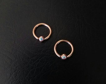 "8mm Rose Gold Aurora Borealis CZ Captive Bead Ring 16g 5/16"" Septum Daith Nostril Helix Tragus Cartilage ring Titianium IP over 316l Steel"