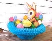Vintage Paper Easter Bunny Basket Centerpiece, Beistle Bunny Nest Honeycomb Folding Easter Rabbit Decoration with Easter Eggs