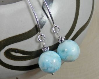 Larimar and Sterling Silver Dangle Earrings on Marquis Ear Wires