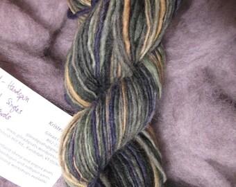 Hand Dyed, Hand Spun Shetland singles yarn