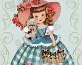 Vintage Girl with Yorkies, Yorkshire terrier card topper, greeting card,  digtial, download, printable, puppies