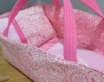 Doll Carrier, Will Fit Bitty Baby and Stella Dolls, Pink and White Flowers with Pink Lining, 16 Inches Long, Doll Basket