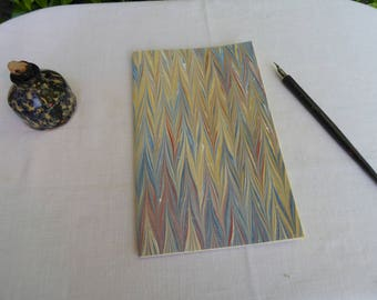 Blue, red and tan hand marbled paper hand sewn notebook, lined paper