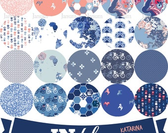 Complete Fat quarter bundle of IN Blue fabric collection by Katarina Roccella for Art Gallery fabrics - INB-36637