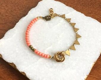 Sunrise Bracelet >> coral bracelet, geometric bracelet, layering bracelet, boho bracelet, triangle bracelet, hot pink bracelet, bohemian