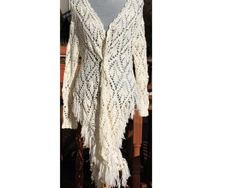 Crochet Jacket/ handmade from Fine Merino and Silk yarn/ Natural White Soft Lace/ fit Size S-M/Made to Order / 2 weeks processing time