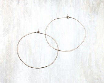 Thin Hammered Sterling Silver Hoop Earring