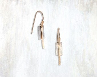 Hammered Rectangle and Bar Drop Earring, Flush Earring