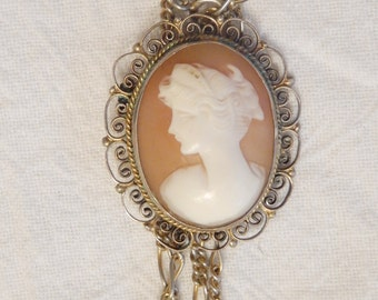 Italian cameo facing left with 800 filigree sterling