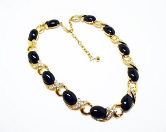 Trifari Black and Rhinestone Necklace - Choker Necklace - Oval Black Glass Cabs - Clear Rhinestones Necklace - Retro Modern  Pre 1998