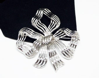 Large Silvertone Bow Brooch - Signed Monet - Striped Ribbon Bow - Vintage 1960's 1970's - Big Brushed Silver Tone Setting - Costume Jewelry