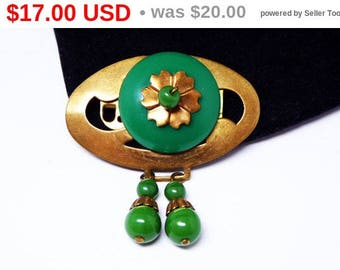 Spring Sale Vintage Art Deco Oval Brooch - Green and Brass Tone - Dangling Green Beads - Flower Center Piece with Glass Bead - 1920's 193...