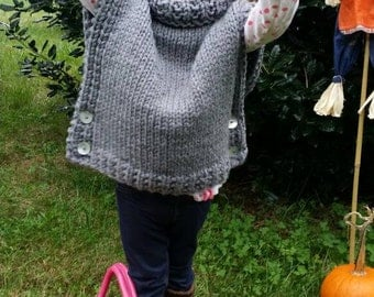 The Azel . . Designed by The Velvet Acorn . Adorable Bulky knit poncho/ sleeveless sweater . 2t.   Available in toddler thru adult sizing.