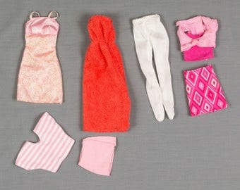 Barbie fashion clothes 7 pieces, 4 outfits, Knee length party dress, Mini skirt with 80's top, White tights, Terry pool dress, Skirt and top