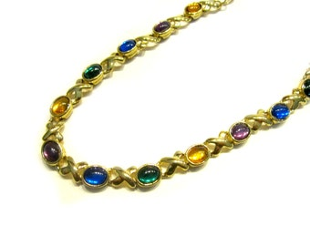 """Vintage Avon Glass Necklace Colorful Blue Purple Green Xs Jewelry Gold Gift for Her under 15 Gift Idea 16"""" 19"""" Like New"""