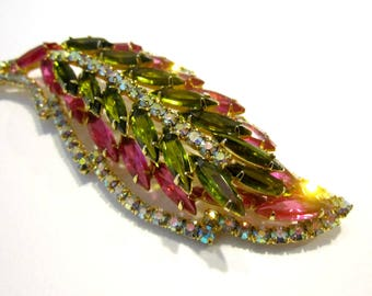 """Vintage Green Pink Rhinestone Brooch Vintage Huge 4"""" Leaf Pin Gift for Her Stunning Designer Jewelry Gift Idea Under 75 Jewelry for Mom"""