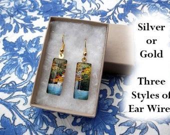 Hasui earrings, waterfall earrings, autumn earrings, fall leaves, small glass earrings, woodblock art earrings, Japanese landscape