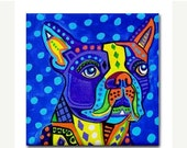 55% Off TODAY- Boston Terrier Art Tile Ceramic Coaster Dog Folk Art Print of painting by Heather Galler