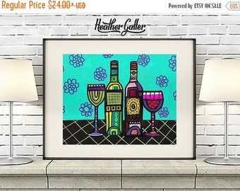 50% Off Today- Wine Bottles Art Poster Print of Painting, Wine Series by Heather Galler  (HG44451)  Wine Lovers Wine Glasses Abstract