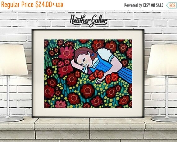 50% Off Today- Dorothy Wizard of Oz Art Art Poster Print of painting by Heather Galler Red Poppies (HG393)