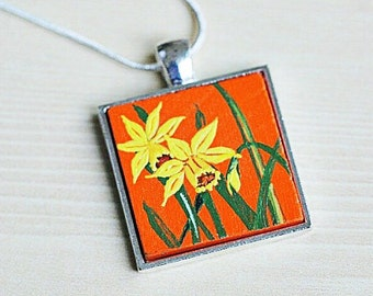 Daffodil Necklace- Daffodil Pendant- Daffodil Jewelry- Hand Painted Pendant- Daffodil Charm- March Birthday Gift- Valentines Gift for Her
