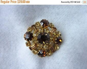 On Sale Vintage Amber Brooch/ Rhinestone Pin/ Yellow Amber Brooch/