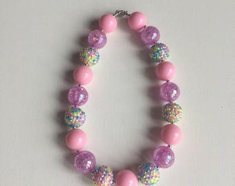 Ready to Ship - Pink Chunky Necklace - Ready to Ship - Spring Bubble Gum Necklace - Easter Necklace - Pink Little Girl Necklace -