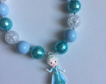 Frozen Birthday Party - Frozen Chunky Necklace - Elsa Necklace - Queen Elsa Necklace - Little Girl Frozen Jewelry -