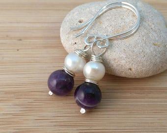 Natural Amethyst Gemstone Earrings. White Freshwater Pearl Earrings. Purple Gemstone Jewelry. February Birthstone Earrings. Sterling Silver.