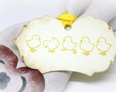 Easter Gift Tags (Double Layered) - Vintage Inspired Baby Chick Tags - Baby Shower  - Napkin Tags - Napkin Rings  - Set of 8