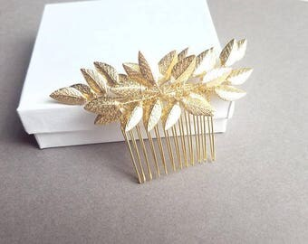Gold Hair Comb, Gold Bridal Hair Piece, Gold Leaf Headpiece, Vine Hair Pin, Bridal Hair Vine, Leaf Hair Comb, Gold Leaf Hairpiece