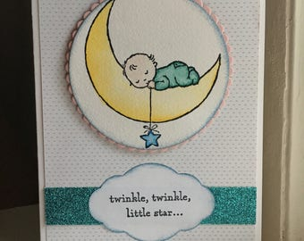 Handmade New Baby Card with Moon