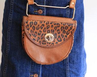 Brown leather shoulder bag vintage animal print small