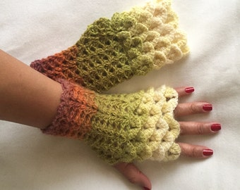 Crochet Fingerless Gloves Crocodile Stitch  in Shades of Green Burnt Orange Soft White and Soft Yellow