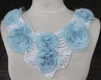 Cute    embroidered applique with blue color chiffon  flowers