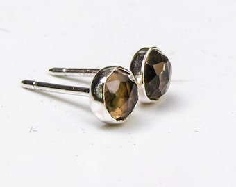 Silver sterling Studs ,Silver earrings, Smoky Quartz earrings, brown stone earrings, mom gift, birthday gift, 5mm stone studs, gift idea