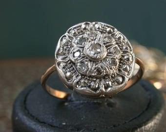 vintage antique art deco solid  gold 9 genuine diamond ring , free resize, flower shape