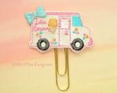 Ice Cream Truck Glitter Planner Clip Paperclip in pastel
