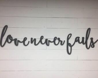 Large Love Never Fails Words Wood Cut Wall Art Sign Decor