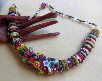 KIT and PATTERN tutorial Zulu rope bead embroidery Necklace Carmen Flowers fun one