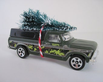 1979 FORD F150 PICKUP TRUCK - Camo, Camouflage - Hot Wheels - Christmas Ornament - Christmas Tree Tied to Top