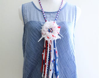 SALE 4th of July Necklace Textile Statement Necklace American Flag Fiber jewelry Patriotic Shabby Fabric flower boho red white blue upcycled