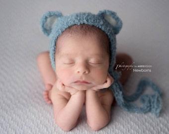 Newborn Bear bonnet - Newborn photo prop - Newborn bonnet  - Hand Knitted - Photographer Prop
