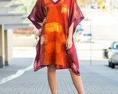 Gorgeous red, orange, and yellow hand-dyed stretch silk caftan, knee-length, one size fits most